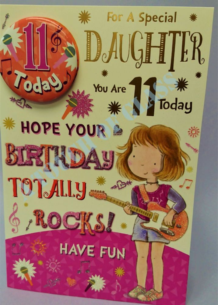 Badge Birthday Card - 11 Year Old Daughter